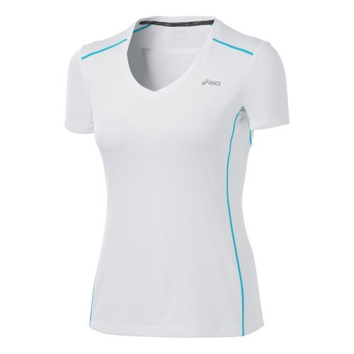 Womens ASICS FujiTrail Short Sleeve Technical Tops - White XL