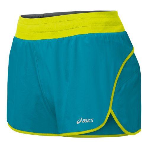 Womens ASICS Distance 3.5 Splits Shorts - Bondi Blue/Electric Lime S