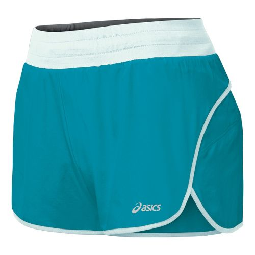 Womens ASICS Distance 3.5 Splits Shorts - Enamel/Blue Light L