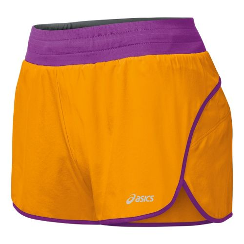 Womens ASICS Distance 3.5 Splits Shorts - Fuel/Purple Pop M