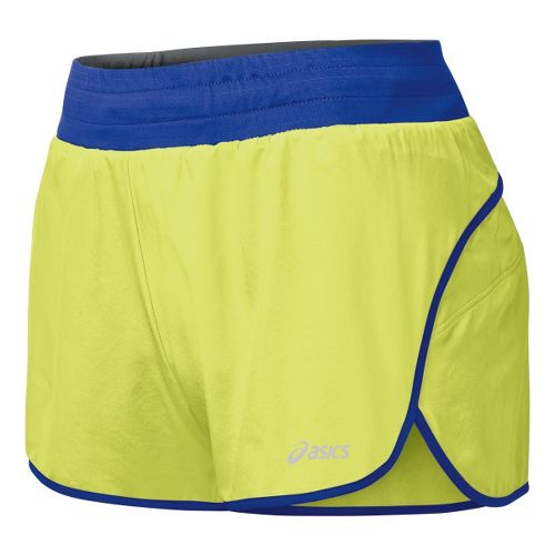 Womens ASICS Distance 3.5 Splits Shorts - Sunny Lime/Dazzling Blue L