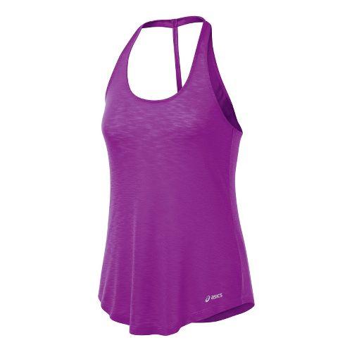 Womens ASICS PR Slub T-Back Tanks Technical Tops - Purple Pop M