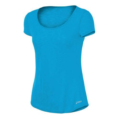 Womens ASICS PR Slub Short Sleeve Technical Tops - Atomic Blue S