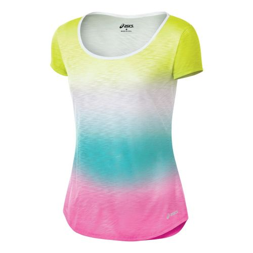 Womens ASICS PR Slub Short Sleeve Technical Tops - Ombre XS