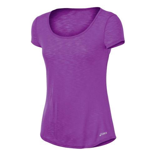 Womens ASICS PR Slub Short Sleeve Technical Tops - Purple Pop L
