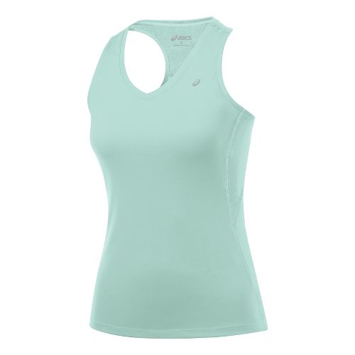 Womens ASICS Favorite Racerback Tanks Technical Tops - Crystal Blue XL