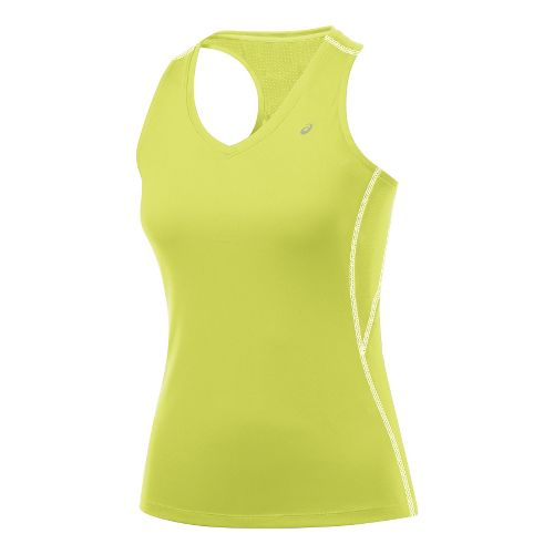 Womens ASICS Favorite Racerback Tanks Technical Tops - Sunny Lime L