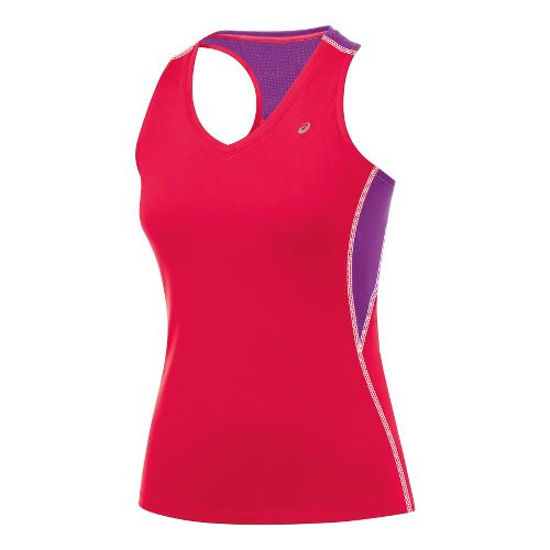 Womens ASICS Favorite Racerback Tanks Technical Tops - Verve/Purple Pop L