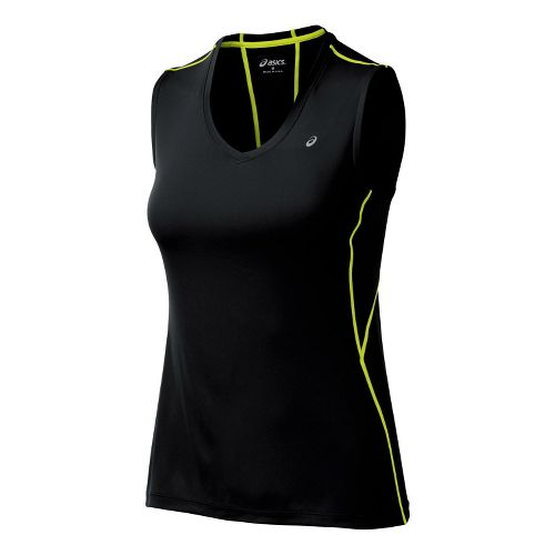 Womens ASICS Favorite Tanks Technical Tops - Black/WOW XS