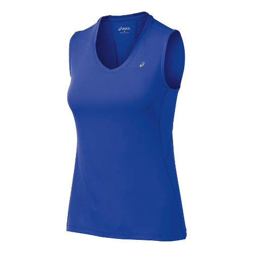 Womens ASICS Favorite Tanks Technical Tops - Dazzling Blue M