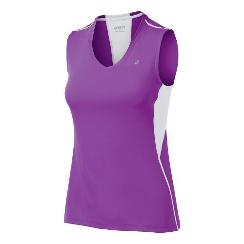 Womens ASICS Favorite Tanks Technical Tops - Purple Pop M