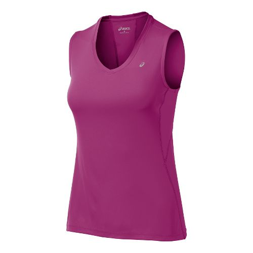 Womens ASICS Favorite Tanks Technical Tops - Wild Aster S