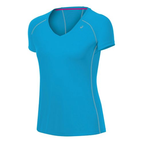 Womens ASICS Lite-Show Favorite Short Sleeve Technical Tops - Atomic Blue M