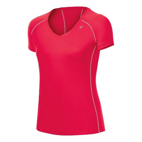 Womens ASICS Lite-Show Favorite Short Sleeve Technical Tops - Formula Red XS