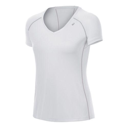 Womens ASICS Lite-Show Favorite Short Sleeve Technical Tops - White M
