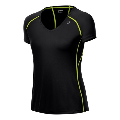 Womens ASICS Favorite Short Sleeve Technical Tops - Black/WOW XS