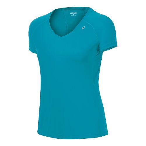 Womens ASICS Favorite Short Sleeve Technical Tops - Enamel/Enamel XS
