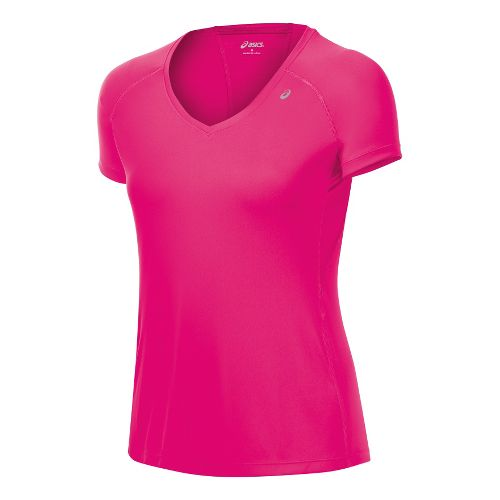 Womens ASICS Favorite Short Sleeve Technical Tops - Magenta XS