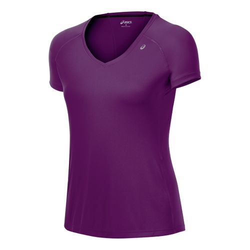 Womens ASICS Favorite Short Sleeve Technical Tops - Plum L