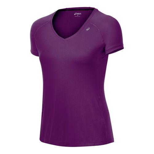 Womens ASICS Favorite Short Sleeve Technical Tops - Plum S