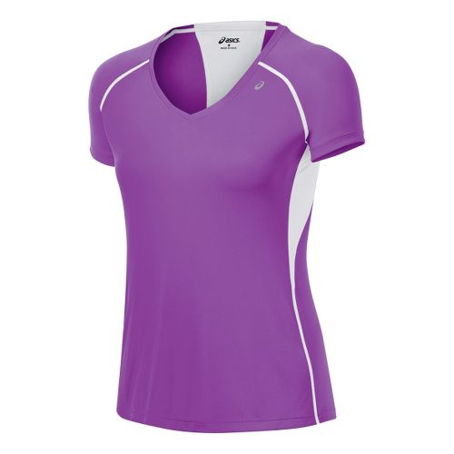 Womens ASICS Favorite Short Sleeve Technical Tops - Purple Pop XS