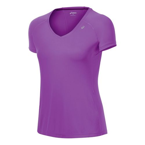 Womens ASICS Favorite Short Sleeve Technical Tops - Purple Pop/Purple Pop L