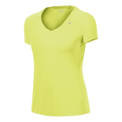 Womens ASICS Favorite Short Sleeve Technical Tops - Sunny Lime L
