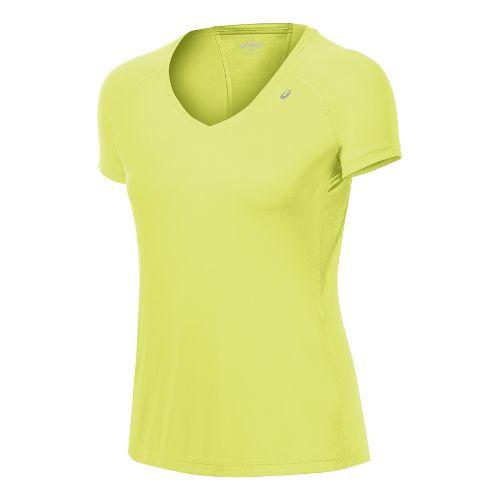 Womens ASICS Favorite Short Sleeve Technical Tops - Sunny Lime L