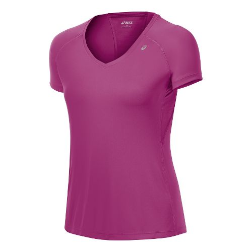 Womens ASICS Favorite Short Sleeve Technical Tops - Wild Aster M