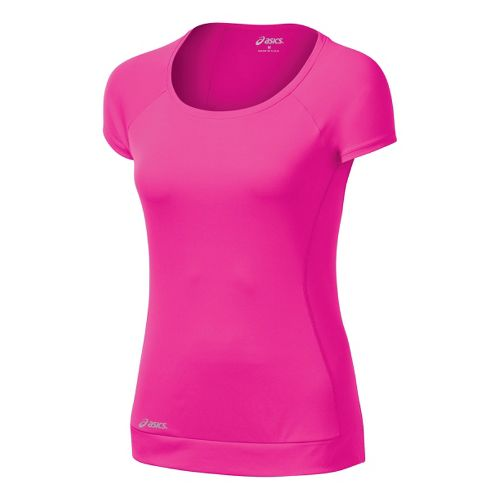 Womens ASICS Favorite Short Sleeve Tee Technical Tops - PinkGlo XS