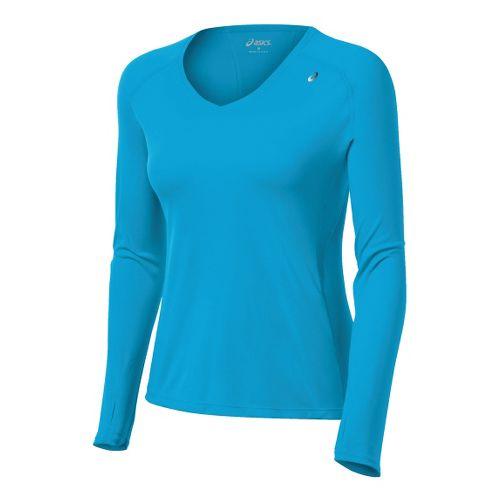 Womens ASICS Favorite Long Sleeve No Zip Technical Tops - Atomic Blue L