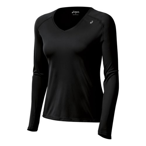 Womens ASICS Favorite Long Sleeve No Zip Technical Tops - Black XS