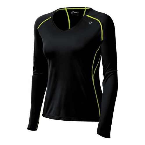 Womens ASICS Favorite Long Sleeve No Zip Technical Tops - Black/WOW S