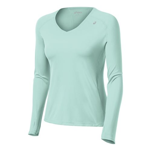Womens ASICS Favorite Long Sleeve No Zip Technical Tops - Crystal Blue XS