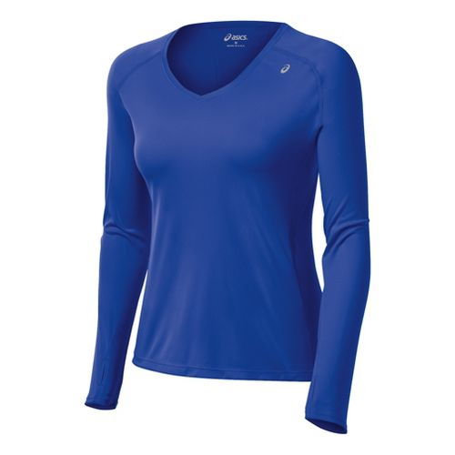 Womens ASICS Favorite Long Sleeve No Zip Technical Tops - Dazzling Blue S