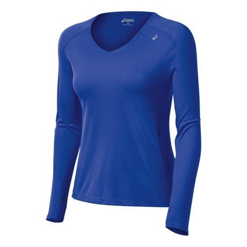 Womens ASICS Favorite Long Sleeve No Zip Technical Tops - Dazzling Blue XL