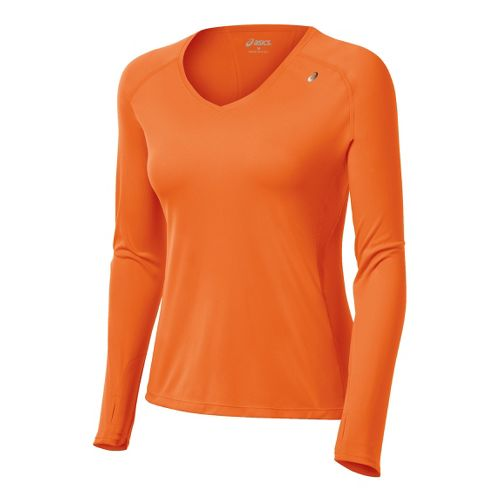 Womens ASICS Favorite Long Sleeve No Zip Technical Tops - Orange Burst L