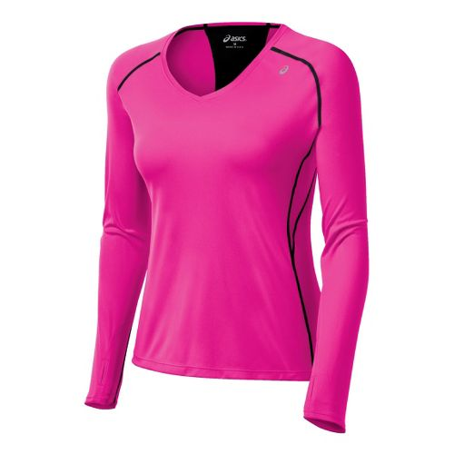 Womens ASICS Favorite Long Sleeve No Zip Technical Tops - PinkGlo L
