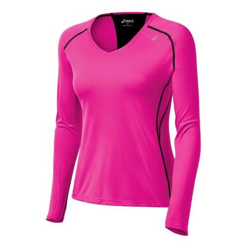 Womens ASICS Favorite Long Sleeve No Zip Technical Tops - PinkGlo L