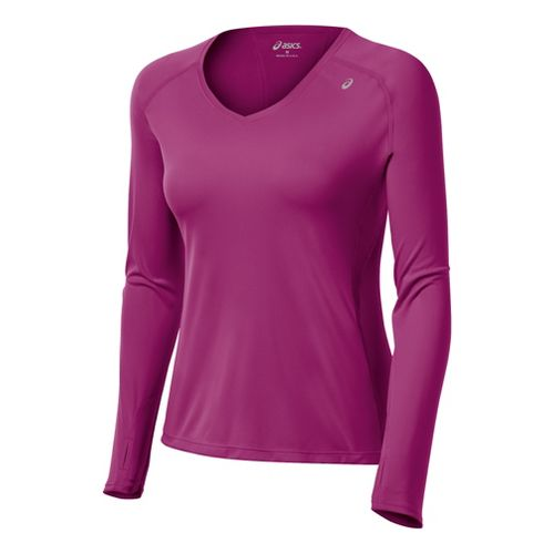 Womens ASICS Favorite Long Sleeve No Zip Technical Tops - Wild Aster L
