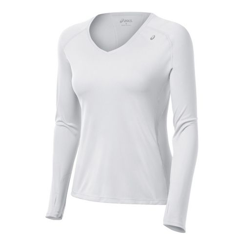 Womens ASICS Favorite Long Sleeve No Zip Technical Tops - White XS
