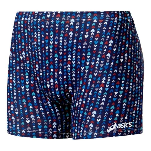Womens ASICS Tiny Hearts Fitted Shorts - Navy/Red L