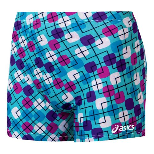 Womens ASICS Modern Maze Fitted Shorts - Navy/White XS