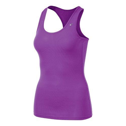 Womens ASICS Rib Racerback Tanks Technical Tops - Purple Pop M