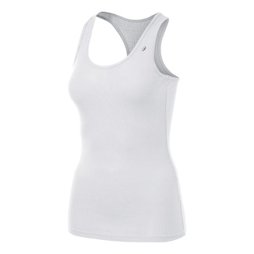 Womens ASICS Rib Racerback Tanks Technical Tops - White L