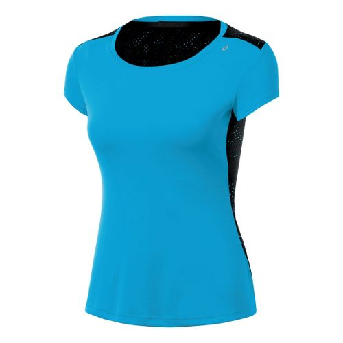 Womens ASICS Performance Fun Short Sleeve Technical Tops - Atomic Blue XL