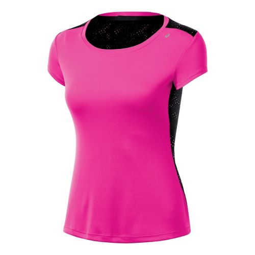 Womens ASICS Performance Fun Short Sleeve Technical Tops - PinkGlo L