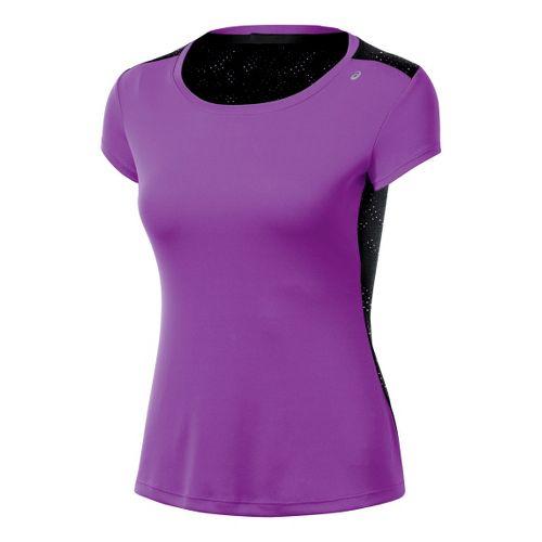Womens ASICS Performance Fun Short Sleeve Technical Tops - Purple Pop S