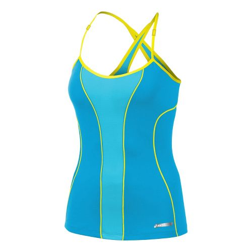 Womens ASICS Abby Bra Tank Technical Tops - Atomic Blue L