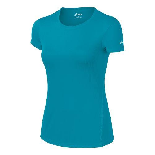 Womens ASICS Core Short Sleeve Technical Tops - Bondi Blue M